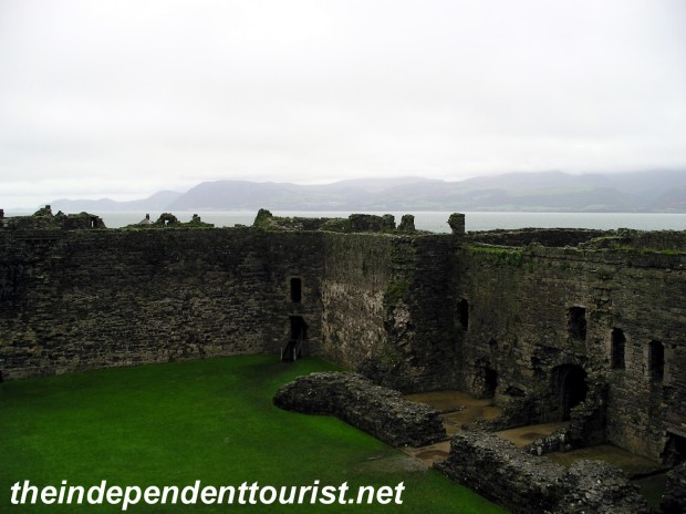 A view of the interior courtyard of Beaumaris Castle.