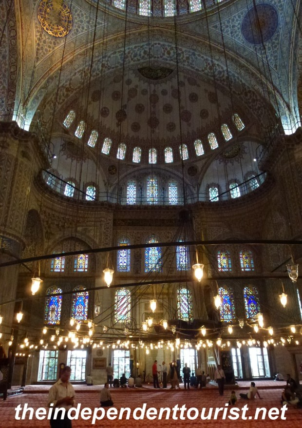 An interior view of the Blue Mosque.