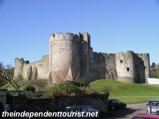 A view of Chepstow Castle, with Marten's Tower in the center and the well-fortified twin tower main gatehouse on the right. These are late 12th century castle additions.