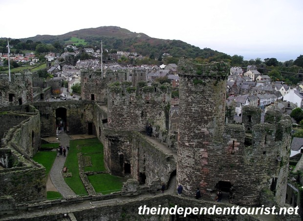 A view of Conwy Castle and town.