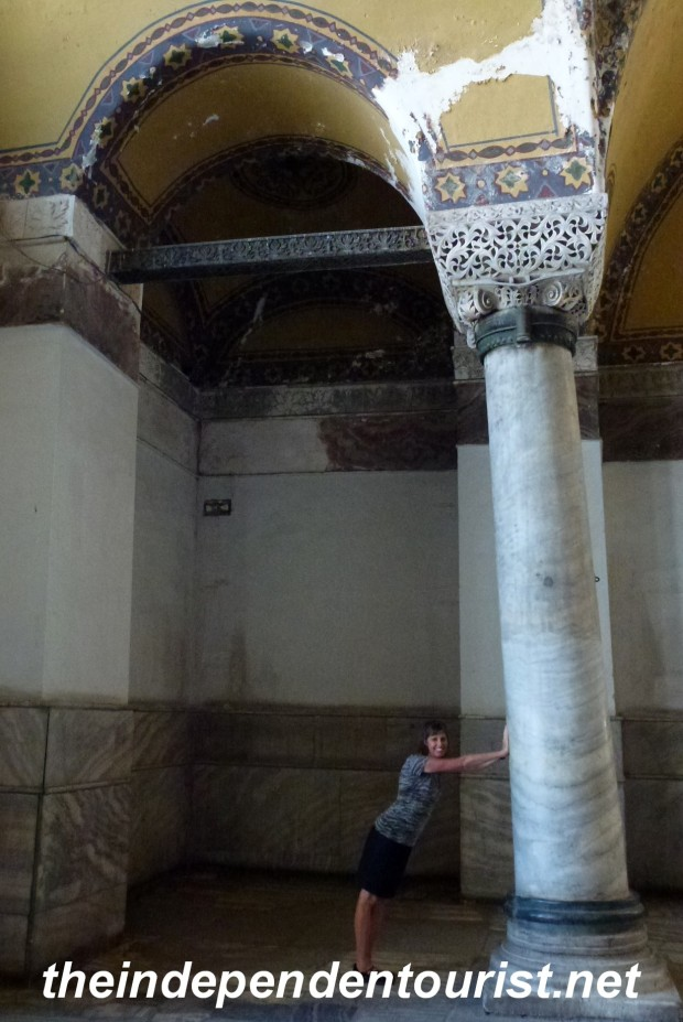 A building that is 1,500 years old has some pillars that are no longer vertical!