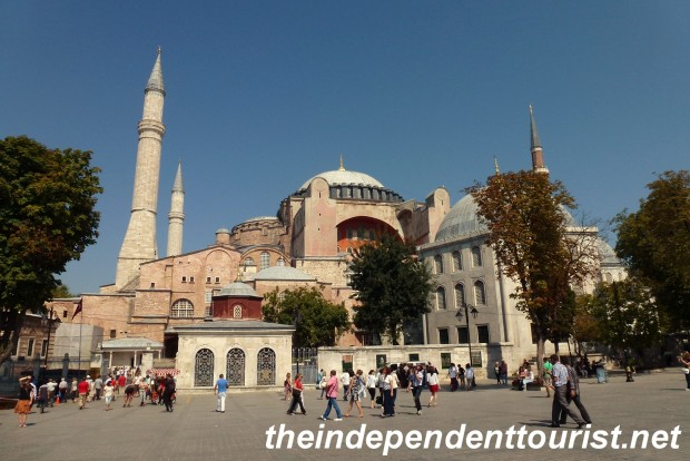 An exterior view of the Hagia Sophia. In the center right of the picture is the mausoleum of Murat III (died 1599) who had 103 children!
