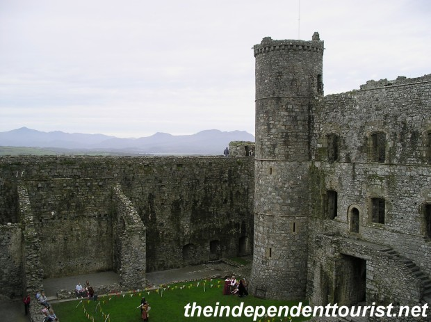 The interior ward of Harlech Castle. The main entrance is to the right.