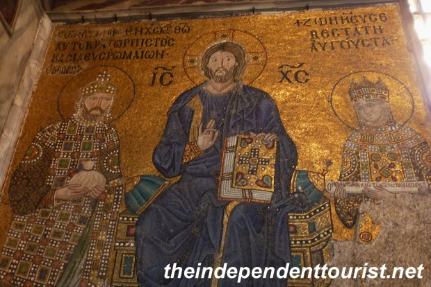 An 11th century mosaic of Christ with Emperor Constantine IX and his wife, Empress Zoe.