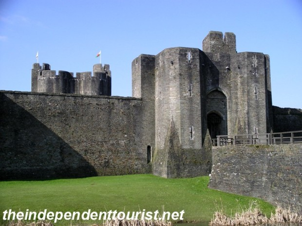 Entrance to Caerphilly Castle.