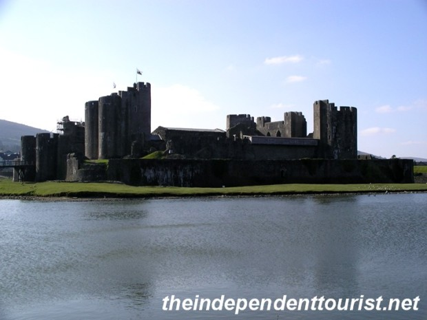 The immense lake surrounding Caerphilly Castle.