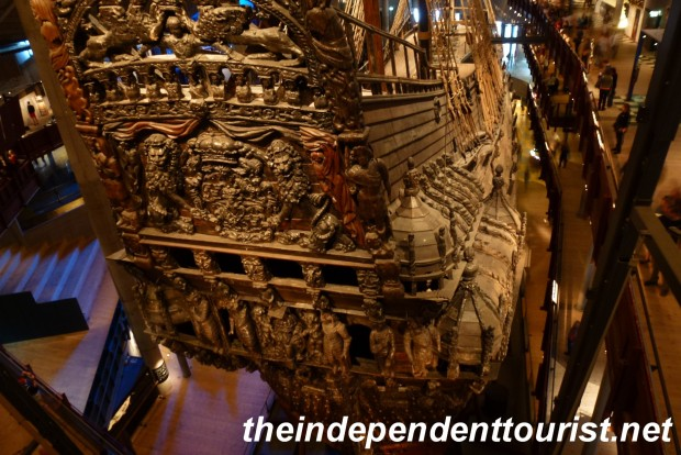 The intricate carvings on the stern of the ship.
