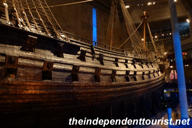 The fateful two rows of cannon ports can be seen on the port side of the Vasa.
