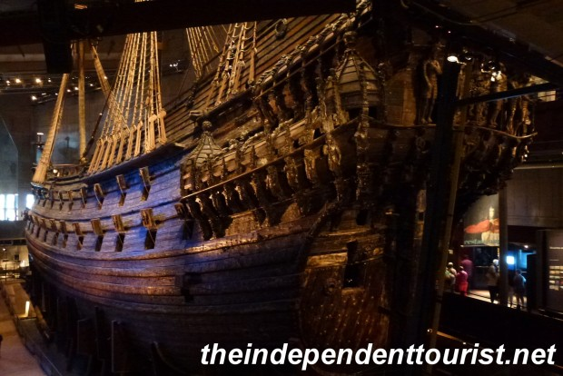 A view of the Vasa from the port stern side--note the huge rudder at the rear.