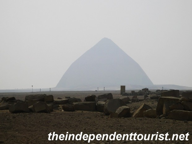 The Bent Pyramid - not accessible to tourists.  The angle was reduced from 54 to 43 degrees due to stress and instability.