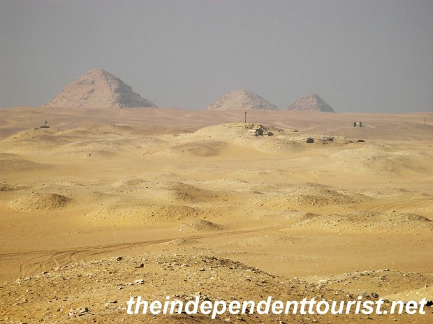 The Pyramids of Abu Sir, looking north from Saqqara. The most northern one, Pyramid of Sahure, was open to tourists at the time, not sure if it still is.