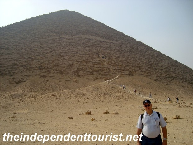 The entrance to the Red Pyramid is in the distance.