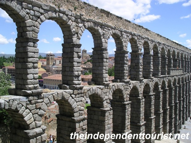 The 1st century Roman aqueduct in Segovia. It was still in use until the late 19th century!