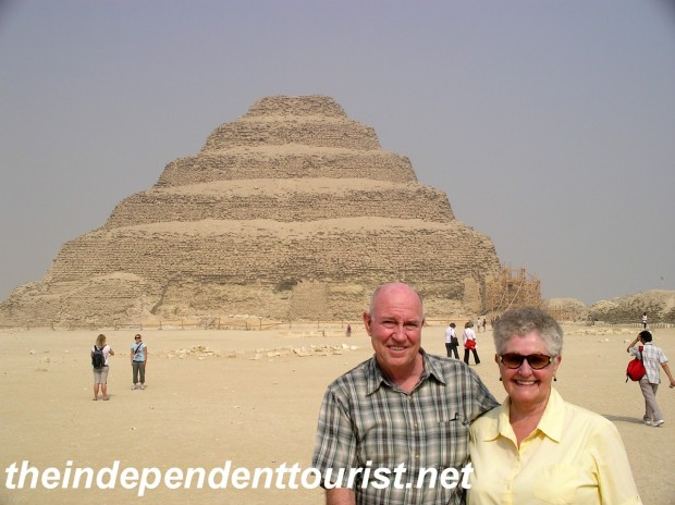 My in-laws in front of the Step Pyramid. The pyramid's interior is not open or safe enough for visitors.