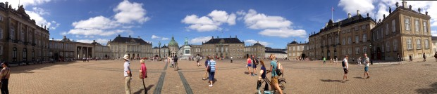 A panoramic view of Amalienborg Palace and Courtyard.