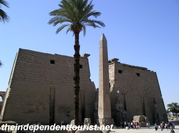 The First Pylon, or entrance to Luxor Temple.