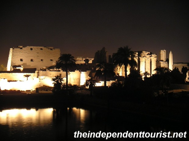 Overlooking the Karnak Temple Complex and Sacred Lake at night.
