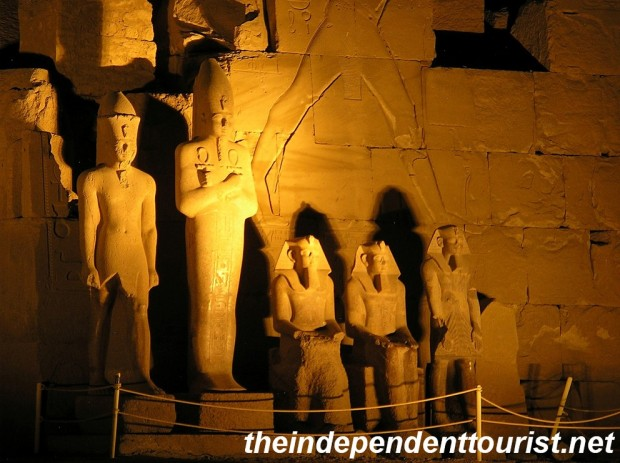 Statues of Karnak at night.