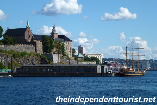 A view of the Akershus Fortress in Oslo Harbor.