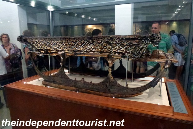 The museum has many other artifacts in addition to the ships. This beautifully carved sled is from the 9th century.