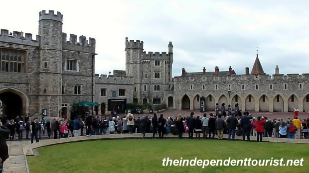 Tourists gathering for a Changing of the Guard ceremony at Windsor Castle.