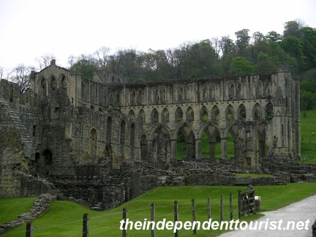 A view of Rievaulx Abbey (and monk's refectory to the left).