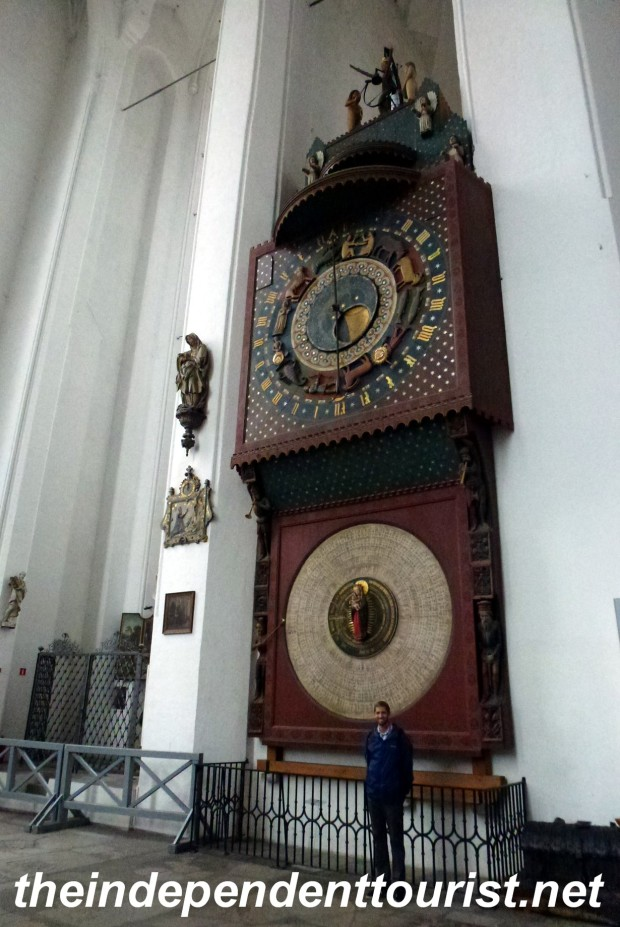 A 15th century Astronomical clock in St. Mary's church, one of the largest red brick churches in the world.