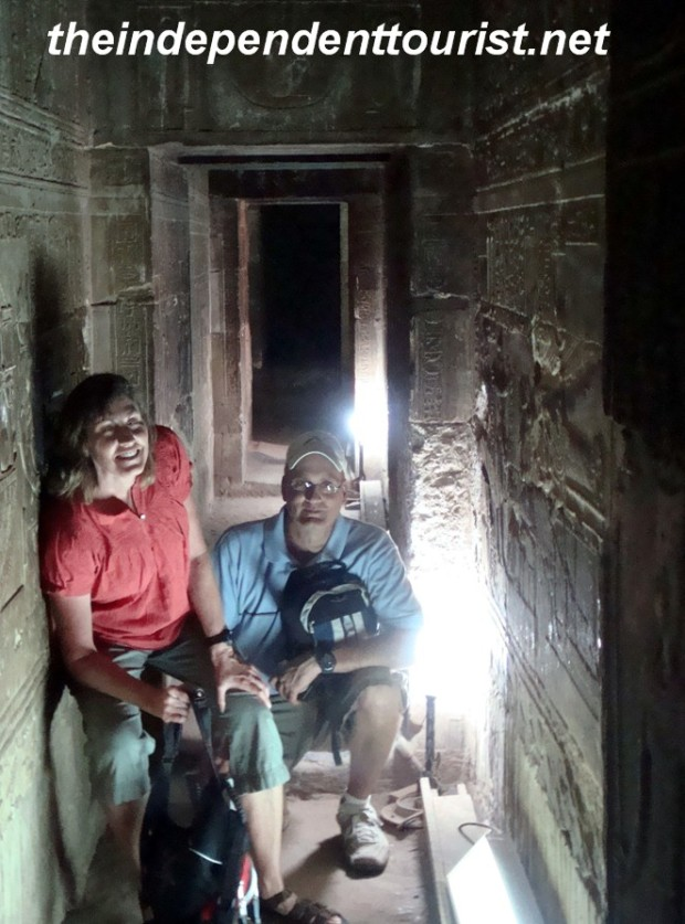 In the crypt at Dendara Temple - we were the only people down there.