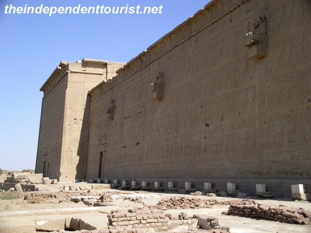 A side view of Dendara Temple.
