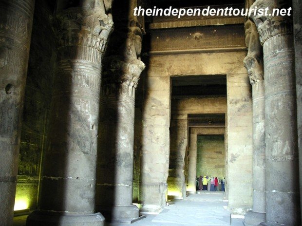 One of the great halls at Dendara Temple. As can be seen by the size of the people in the background, the temple is large.