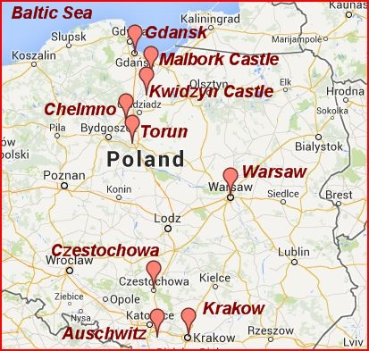 Places we visited in Poland in 2013.