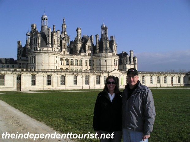 A view of the keep (central towers) of Chambord Chateau.