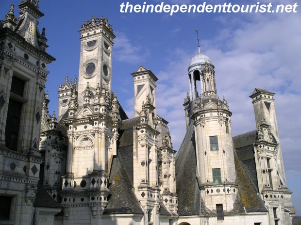 The roof towers and chimneys at Chambord Chateau.