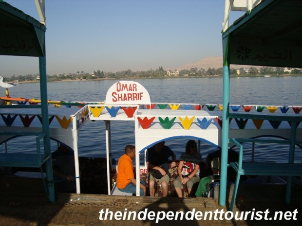 "Our boat, the ""Omar Sharrif"" getting ready for the short journey across the Nile."