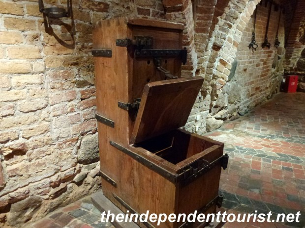 One torture device in the dungeon of Kwidzyn Castle. You would have to sit in one position and couldn't move. Also note shackles on wall to the right.