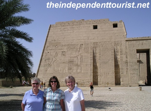 My mother-in-law, wife and sister in front of the Medinat Habu Temple.