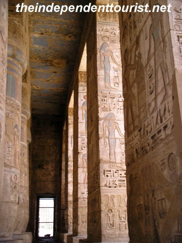 The carved pillars in the Second Court of Medinat Habu Temple.