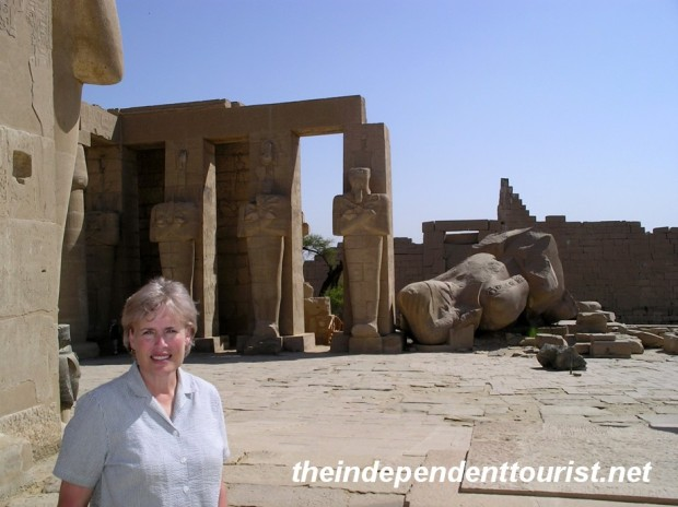 Another view of the Ramesseum. In the background are statues of Ramses II as Osiris, god of the underworld.
