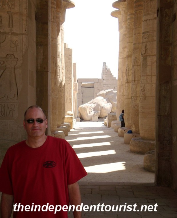 In the Hypostyle Hall of the Ramesseum.