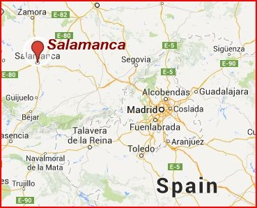 Salamanca is northwest of Madrid.