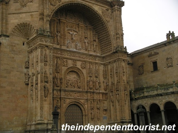 The intracately carved entrance to the Iglesia-Convento de San Esteban, a 16th century Dominican monastery.