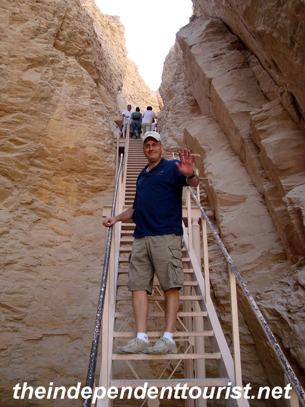 Climbing up to the Tomb of Tuthmosis III - the tomb was dug 100 feet above the valley floor in an attempt to keep thieves out (didn't work!).