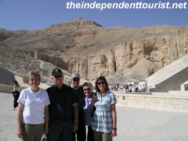 At the entrance to the Valley of the Kings.