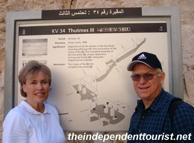"The sign at the entrance of the tomb of Tuthmosis III (1479 - 1425 BC). The ""KV 34"" means it was the 34th tomb discovered in the ""Kings Valley."""