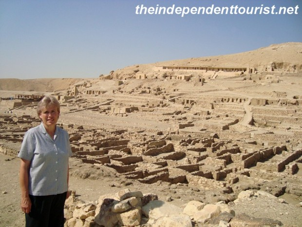 My sister in a view of the Worker's Village ruins (Deir al-Medina).