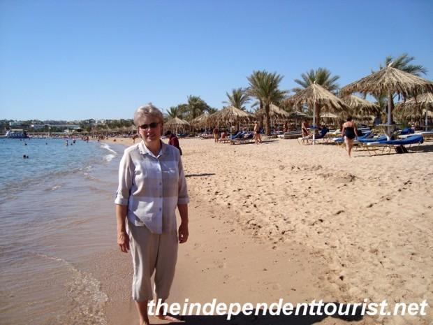 My sister on Na'ama Bay beach.