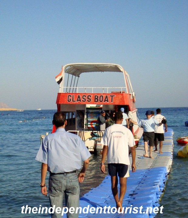 One of the glass bottom boat tours available in Na'ama Bay.