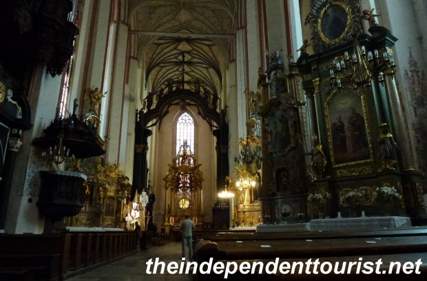 The interior of St. Mary's Church. There are some well-preserved frescoes on some of the walls.