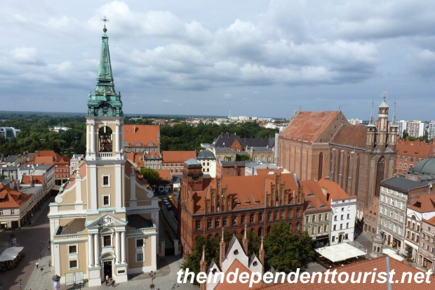 A view from the Toruń Town Hall Tower - The huge, late 13th century St. Mary's Church is on the right.