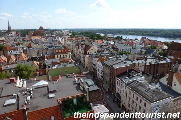A view of Toruń, looking northeast along the Vistula river, from the Town Hall Tower.